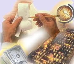 Picture of money stack, globe, abicus and two hands holding a wooden pencil reviewing receipts