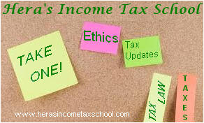 "stick-it note board, notes say ""Take one!"", ""Ethics"", ""Tax Updates"", etc."