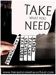 "image reads ""Take what you Need"" and pull stickers that read Tax courses, Tax rules, Updates, Tax Law, and Ethics."